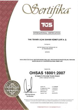 ohsas 18001-2007 sertifikası
