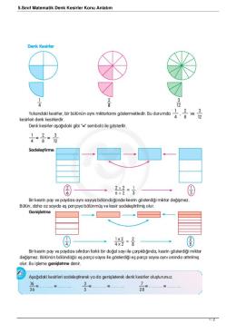 5.Sınıf Matematik Denk Kesirler Konu Anlatım