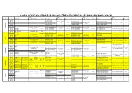 2014-2015 Bahar dönemi Ders Programı