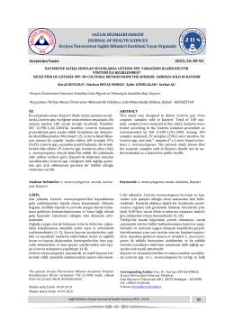 Kayseri`de Satışa Sunulan Sucuklarda Listeria SPP. Varlığının