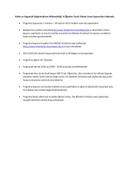 Programa başv - Hacettepe Üniversitesi Kalite ve Uygunluk