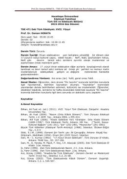TDE 471 Eski Türk Edebiyatı Ders İzlencesi