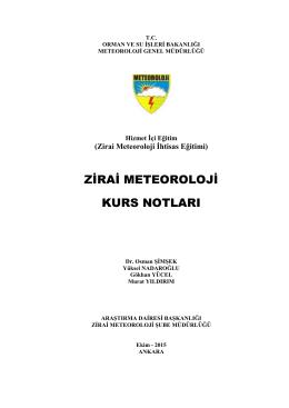 Zirai Meteoroloji 9-13 Kasım 2015