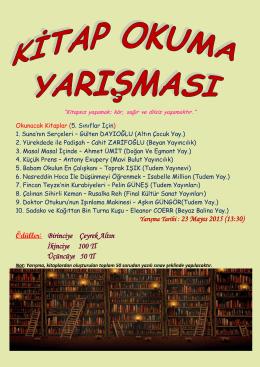 5. Sınıflar Kitap Okuma Yarışması