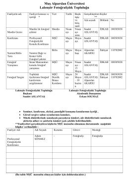 Faliyet Planı - Muş Alparslan Üniversitesi