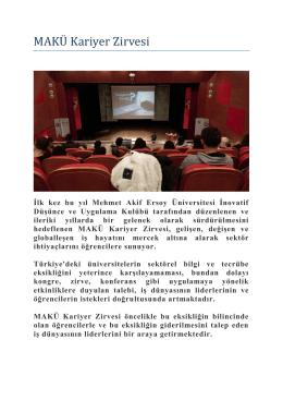 """""""MAKÜ Kariyer Zirvesi""""nde - Keskin Meslek Yüksekokulu"""