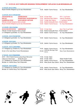 18 eylül 2015 haftalık programı