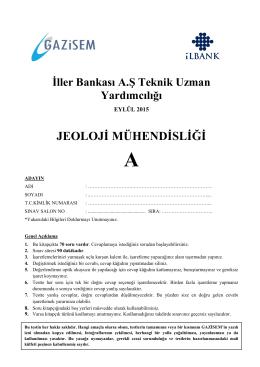 JEOLOJİ MÜHENDİSLİĞİ - İller Bankası Genel Müdürlüğü