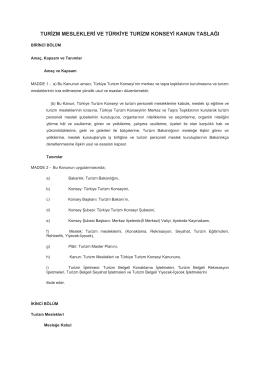 turizm meslekleri ve türkiye turizm konseyi kanun taslağı