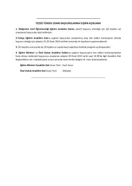 tezsiz yüksek lisans başvurularına ilişkin açıklama