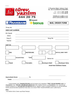 MAİL ORDER FORM - Türev Yazılım Ltd. Şti.