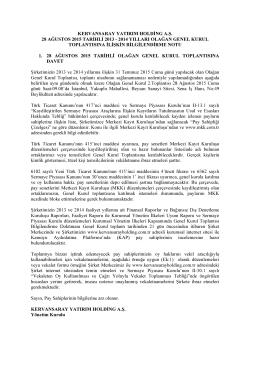genel kurul bilgilendirme notu (2013 ve 2014 yılı olağan