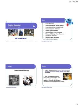 Bölüm 1 Üretim Sistemlerine Giriş