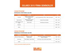 SOLAREX 2015 FİRMA SEMİNERLERİ