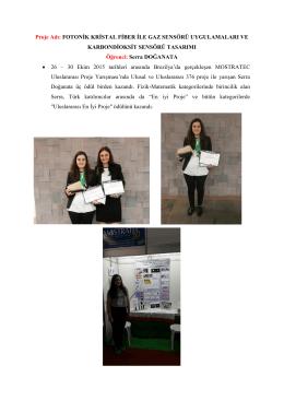 Proje Adı: FOTONİK KRİSTAL FİBER İLE GAZ SENSÖRÜ