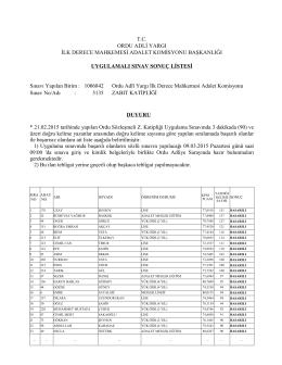 T.C. ORDU ADLİ YARGI İLK DERECE MAHKEMESİ ADALET