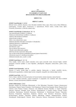 Biyoloji Ders İçerikleri - Fen Edebiyat Fakültesi