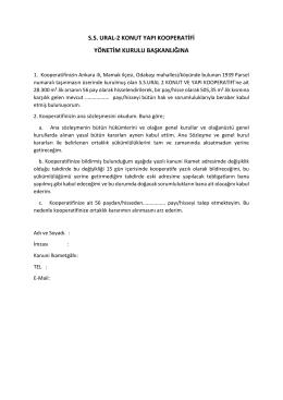 ss ural-2 konut yapı kooperatifi yönetim kurulu başkanlığına