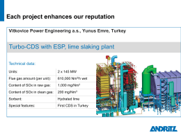 Turbo-CDS with ESP, lime slaking plant, Vitkovice Power