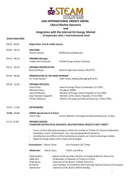 16th INTERNATIONAL ENERGY ARENA Liberal Market Dynamics