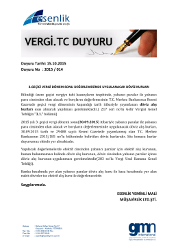 Duyuru Tarihi: 15.10.2015 Duyuru No : 2015 / 014