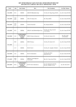 2015-16 Güz Ara Sınav Takvimi