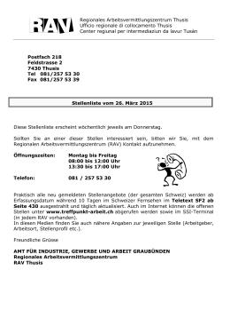Stellenliste vom 26.März 2015