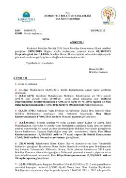 SAYI : 18108937/ 28/09/2015 KONU : Meclis toplantısı.SAYIN