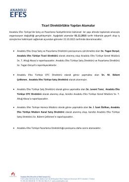 Ticari Direktörlükte Yapılan Atamalar - Efes Pilsen E