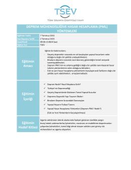 Deprem Mühendisliği ve Hasar Hesaplama (PML)