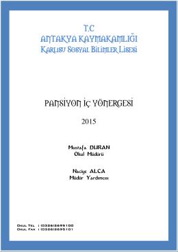 Pansiyon İç Yönergemiz - Karlısu Sosyal Bilimsel Lisesi