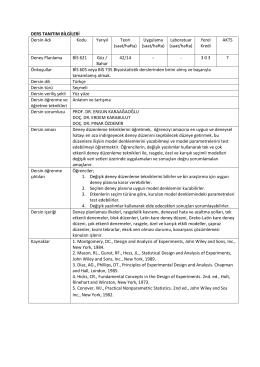 BİS 621 Deney Planlama - Biyoistatistik