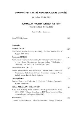 CTAD:Cumhuriyet Tarihi Araştırmaları Dergisi
