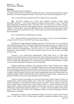Karar No : 150 Karar Tarihi : 14/05/2015 KONUSU