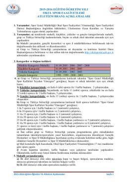 2015-2016 ATLETİZM BRANŞ AÇIKLAMALARI