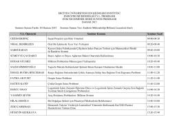 Yüksek Lisans Seminer Dersi Sunum Programı