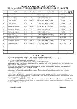2. dönem sorumluluk sınav programı - MERKEZ
