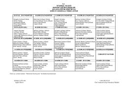 Lise Yemek Listesi (Ekim 2015)
