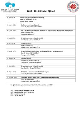 2015 - 2016 Diyabet Eğitimi - Uzman Diyetisyen Beyza Eliuz Tipici