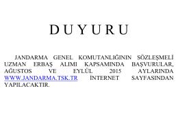 D U Y U R U - Jandarma Genel Komutanlığı
