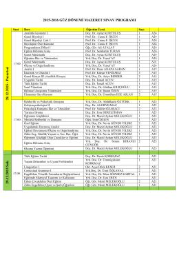 2015-2016 Güz Dönemi Mazeret Sınav Programı