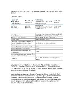174.31.12.2015 Tarihli Taşınmaz Değerleme Raporu