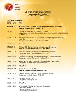 November 19, Thursday - 1.Ulusal Radyasyondan Korunma Kongresi