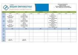 1.Sınıf Ders Programı