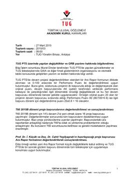27 Mart 2015 Akademik Kurul Kararları - TUG
