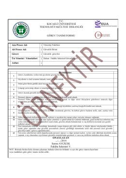güvenlik görev tanımı - Kocaeli Üniversitesi Teknoloji Fakültesi