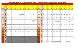 2015-2016 1. dönem 2. ortak sınav takvimi - TEPEBAŞI