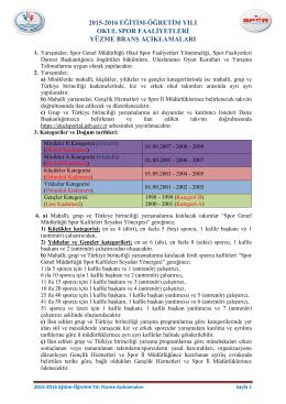 2015-2016 YÜZME BRANŞ AÇIKLAMALARI 19.10.2015