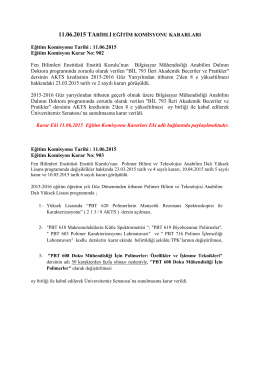 11.06.15 tarihli Eğitim Komisyonu Kararları