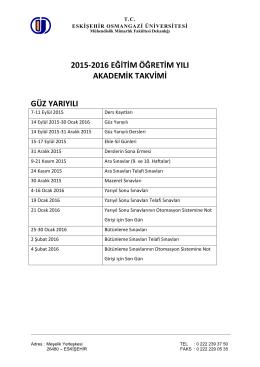 Akademik Takvim - Eskişehir Osmangazi Üniversitesi Mühendislik